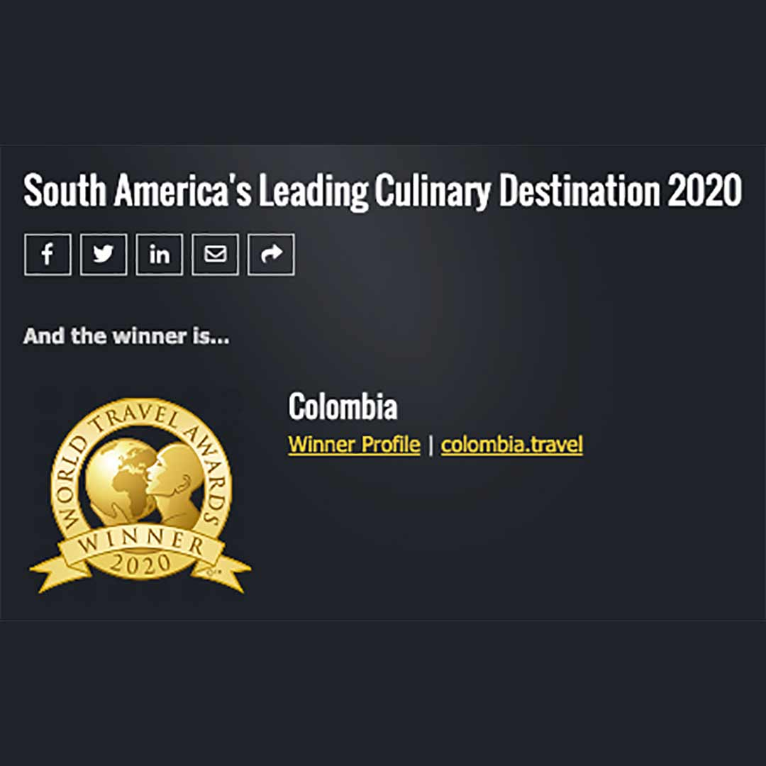 Colombia, mejor destino culinario de sur America